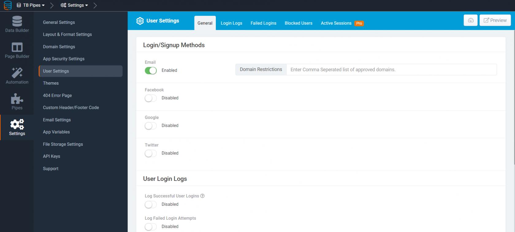 Signup and Login using...   Tadabase
